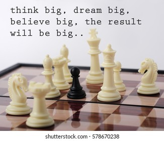 One Pawn Staying Against Set of White Chess Pieces, Dream Concept