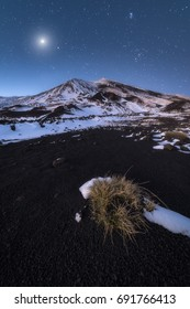 One the peaks of mount Etna photographed during the night.