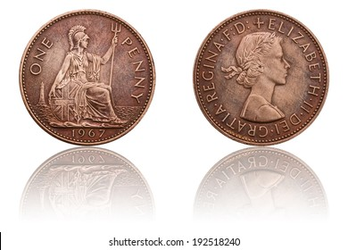 One Penny Coin - 1967 Queen Elizabeth II, British Coins and Currency, The Obverse and Reverse, Used Old Coin, Numismatics