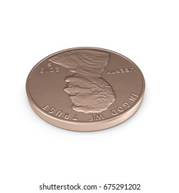 One Penny coin isolated over white. 3D illustration, clipping path