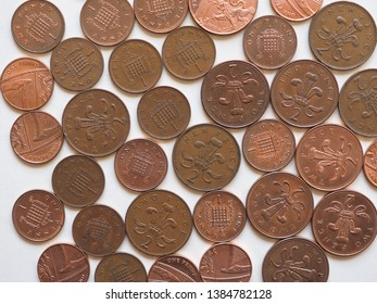 One Penny and Two Pence Pound coins money (GBP), currency of United Kingdom, soon to be withdrawn, possibly