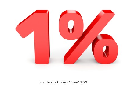 One percent off. Discount 1 %. 3D illustration on white background.