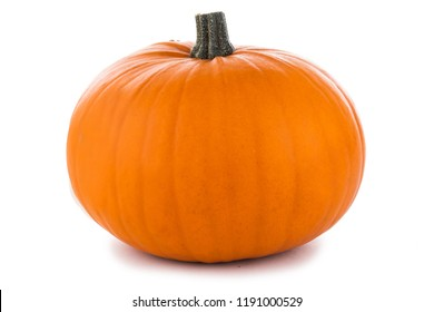 One perfect orange pumpkin isolated on white background , Halloween concept