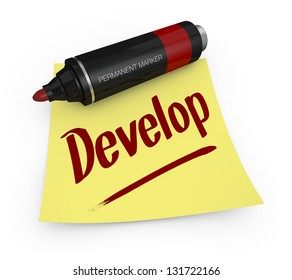 one permanent marker with a yellow sticky note and text: develop (3d render)