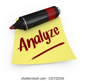 one permanent marker with a yellow sticky note and text: analyze (3d render)