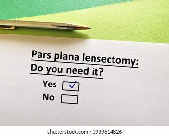 One person is answering question. He needs pars plana lensectomy. - Shutterstock ID 1939614826