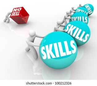 One person with no skills pushes a metaphorical cube representing the challenges he faces in life against skilled competition better prepared for a job or task