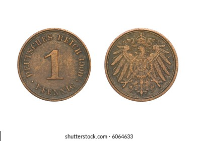 One pfennig from 1900 (clipping path)