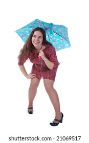 One picture of one beautiful girl with umbrella