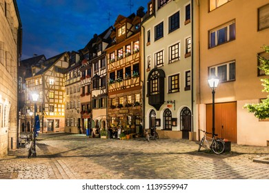 One of the picturesque streets in the historical center of Nuremberg, Germany