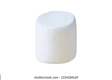 One piece of raw sweet tasty marshmallow cylindrical form isolated on white background. Close-up