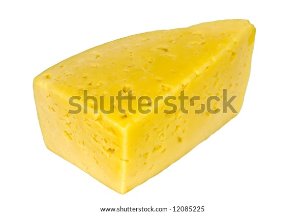 One piece of yellow Cheese isolated on white