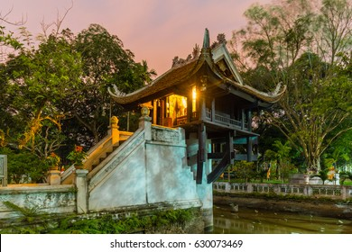 One Pillar pagoda at night in Hanoi, Vietnam