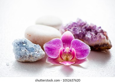 One pink orchid blossom with zen stones and amethyst cluster and blue cluster crystal on light background with water drops. Alternative medicine concept.