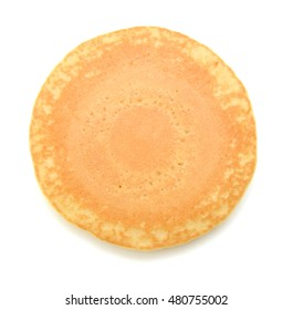 One plain pancakes on a white background.