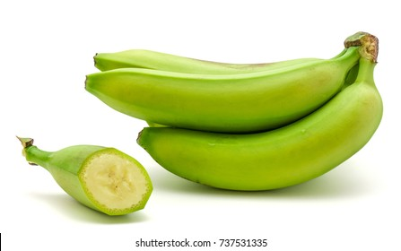 One plantain cluster and one cut slice isolated on white background