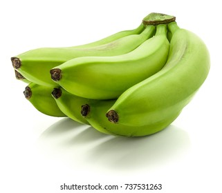 One plantain cluster (green bananas) isolated on white background