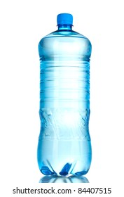 One plastic bottle of water isolated on white