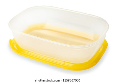 One plastic transparent container isolated on white.