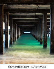 One Point Perspective under a Makai Research Pier in Waimanalo, Oahu, Hawaii
