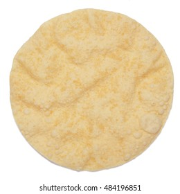 One poppadom isolated on white background shot from above
