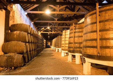 one of the Port wine Cellar of Ferreira at the waterfront  on the Douro River in Ribeira in the city centre of Porto in Porugal in Europe. Portugal, Porto, October, 2015.