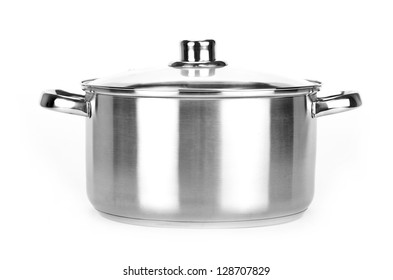 One pot isolated on white background. Black and white photo.