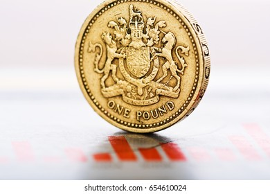 One pound coin on fluctuating graph. Rate of the pound sterling (shallow DOF).