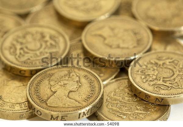 One Pound coins macro