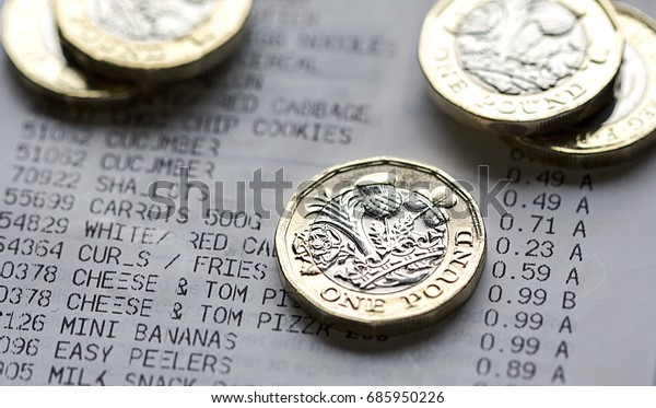 One Pound Coins on a Till Receipt