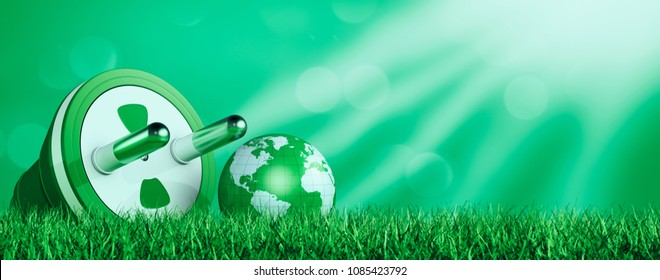 one power plug with a small earth globe, concept of green energy and environment pollution, grass on foreground, copyspace (3d render)