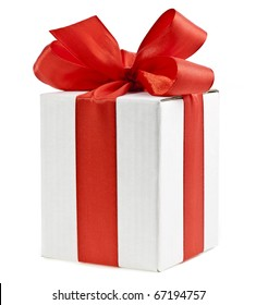 one  present box wrapping  red ribbon bow isolated on white