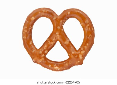 One Pretzel -- One brown salted pretzel against a clean white background