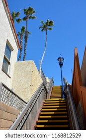 One of the public stairway in Oceanside California leading up to the streets from the beaches.