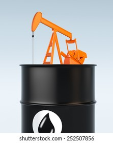 one pumpjack on top of a giant oil barrel (3d render)