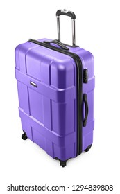 One purple modern travel suitcase with opened handle