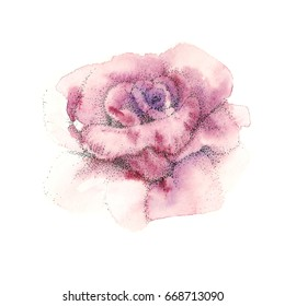 One purple pink rose. Watercolor painting . Pointillism, drawing by points. Flower background, watercolor composition. Hand drawn floral  illustration.