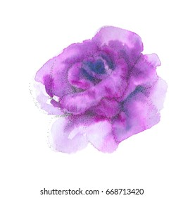 One purple rose. Watercolor painting . Pointillism, drawing by points. Flower background, watercolor composition. Hand drawn floral  illustration.