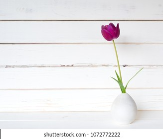 One Purple Spring Tulip in a Small Modern Light Gray Vase on a White Table and against distressed shiplap wood board background with extra room or space for copy, text or your design.