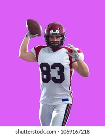 one quarterback american football player throwing ball isolated on colorful background