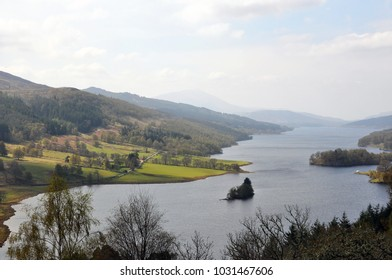 One of Queen Victoria's picnic spot, Loch Tummel in Scotland on a beautiful late spring day