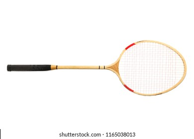 One racket isolated on white. Concept badminton.