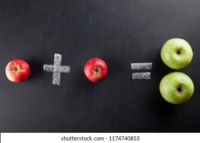 The one red apple and one red apple picking process on a chalkboard