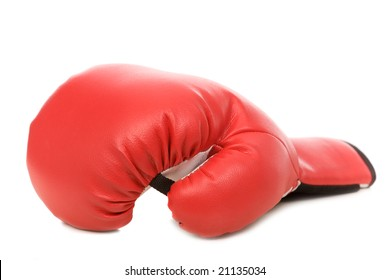 one red boxing glove on a white background, close-up