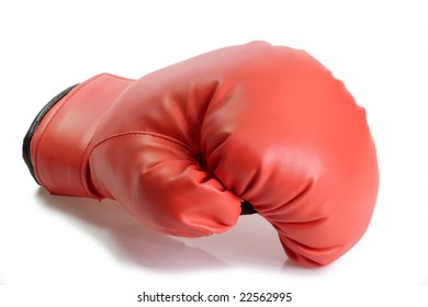 One red boxing glove on bright background