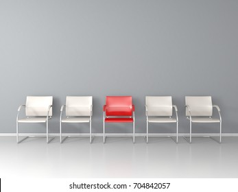 One red chair between white chairs in the waiting room 3D render