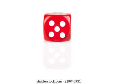 One  red dice isolated on white background with reflection
