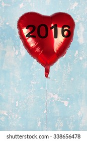 One Red Heart Detailed Balloon with new year 2016