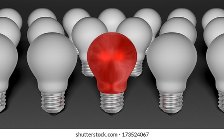 One red light bulb among grey ones on grey textured background. Idea concept