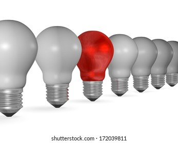 One red light bulb in row of many grey ones isolated on white background